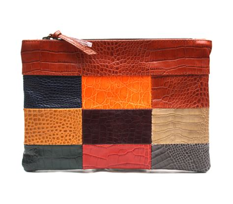 Patchwork Clutch - clutch bag leather patchwork clutch gift for leather