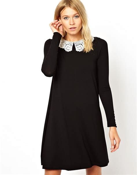 swing dress with collar asos asos swing dress with crochet collar and long sleeves