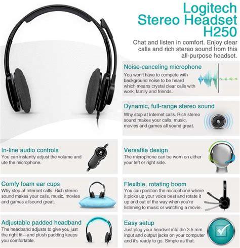 Logitech Stereo Headset H 250 logitech stereo headset h250 headset semi open graphite at tigerdirect
