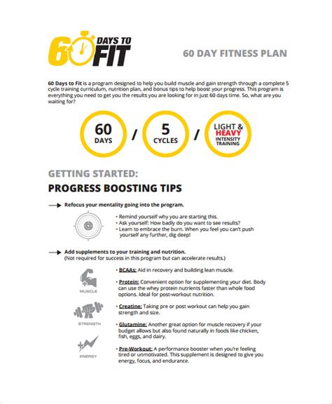 fitness business plan template sle 30 60 90 day plan 11 exle format