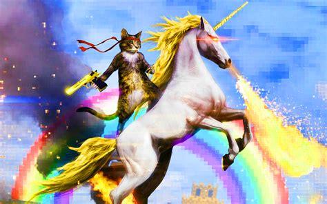 wallpaper cat unicorn cat riding fire breathing unicorn photos for desktop