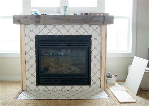 fireplace makeover octagon dot tile averie