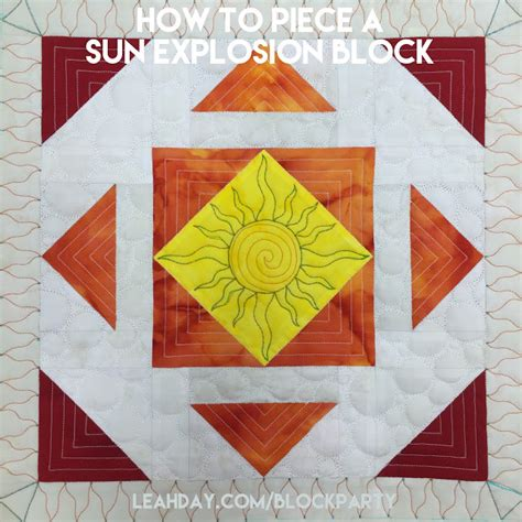 Sun Quilt Block by The Free Motion Quilting Project How To A Sun