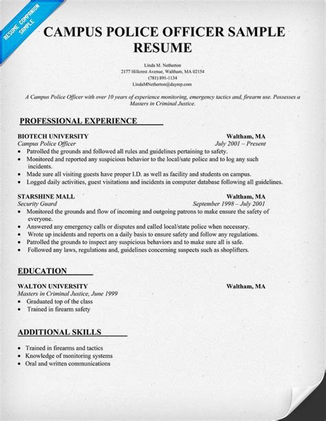 Sample Resume Objectives For Police Officer by Resume Examples Tattoos