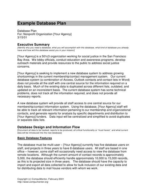 exle database plan