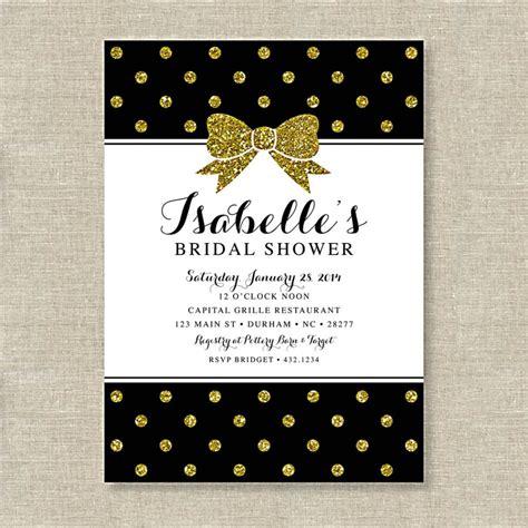 Bridal Shower Invitations Bridal Shower Invitations Black And Gold Glitter Invitation Template