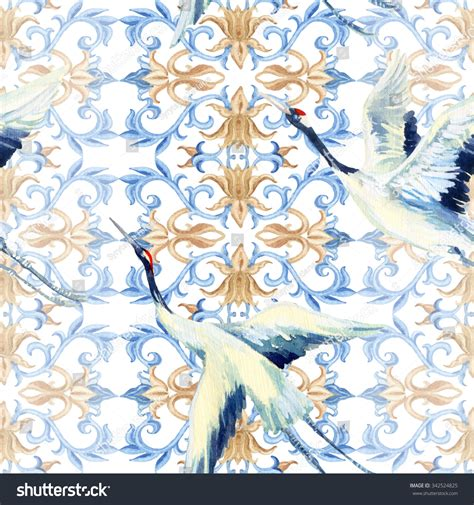 japanese pattern watercolor asian seamless pattern watercolor crane bird stock