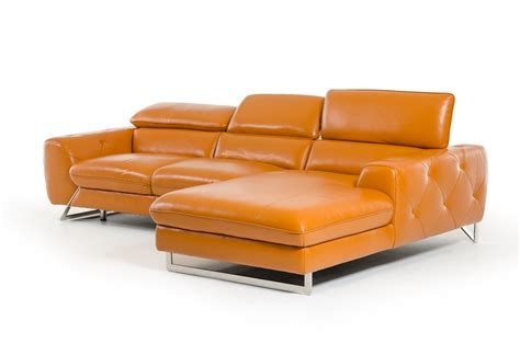 Modern Orange Sofa Divani Casa Modern Orange Leather Sectional Sofa
