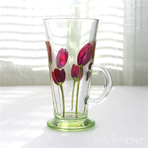 painted glass coffee hand painted glass mug purple tulips design coffee mug tea