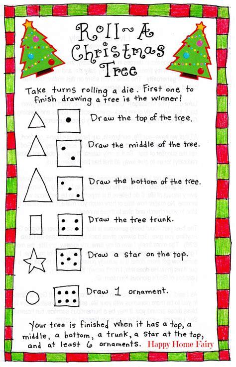 free printable christmas games to play at home roll a christmas tree game free printable happy home