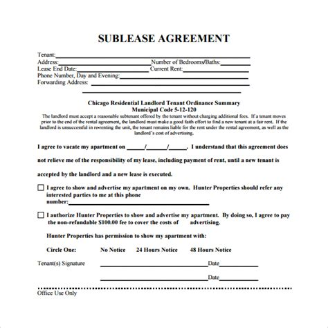 sublease agreement 18 download free documents in pdf word
