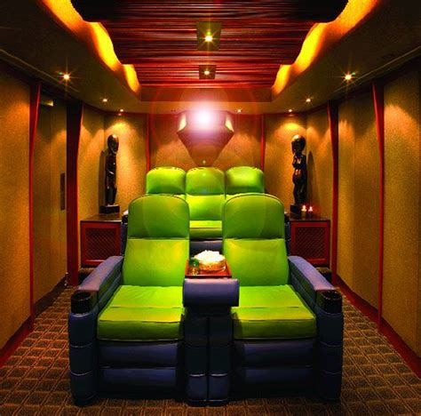 small home theater room ideas green and purple