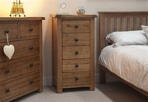 Oak Furniture Bedroom Tilson Solid Rustic Oak Bedroom Furniture Narrow Wellington Chest Of Drawers Ebay
