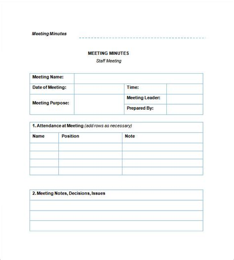 staff meeting minutes templates 15 free word excel