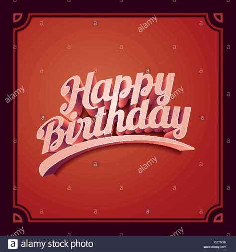 happy birthday retro design vector 3d happy birthday retro birthday card design