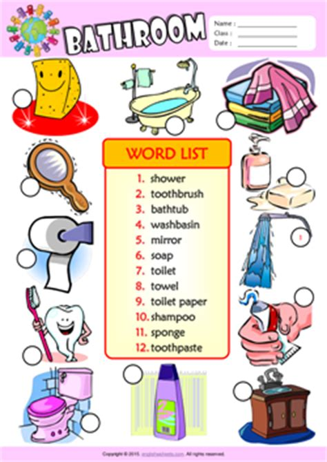 english word for bathroom bathroom esl printable worksheets for kids 3