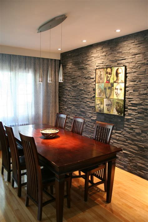 exquisite dining rooms  stone walls interior vogue