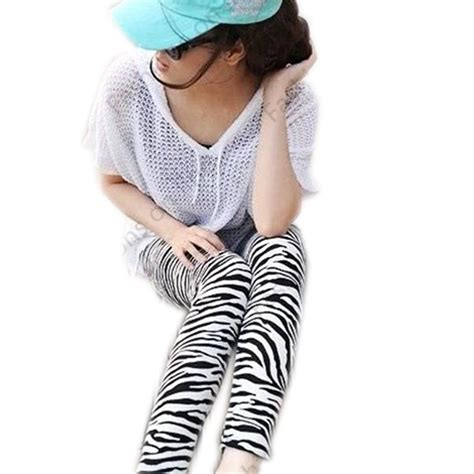 patterned tights in style 2015 fashion 2015 women leggings black white striped slim