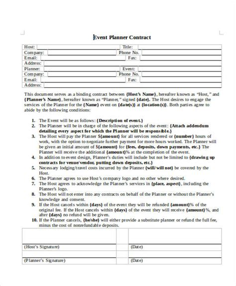 planner contract template planner contract template 28 images event contract