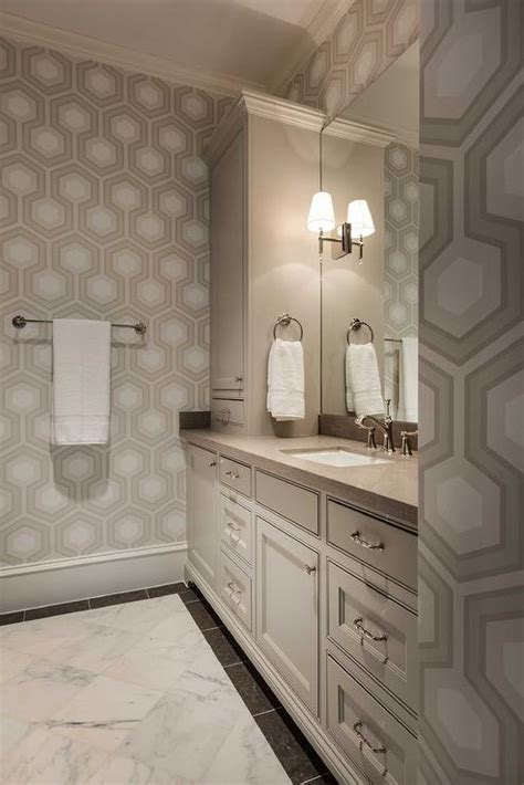 beige bathrooms white and beige bathroom with beige hexagon wallpaper