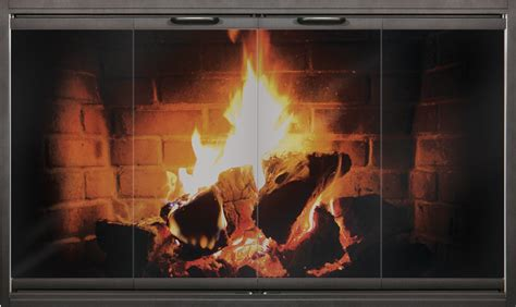 Thin Line Zero Clearance Fireplace Door In Textured Black
