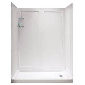 dreamline shower base and back walls white acrylic wall