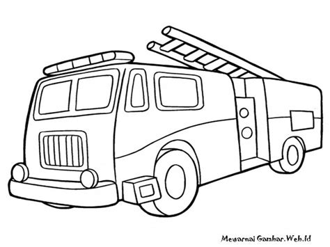 simple fire truck coloring page simple fire truck drawing