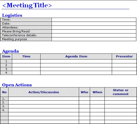 meeting notes template minutes of meeting template word projectemplates