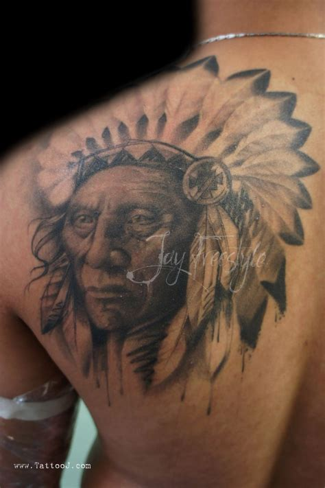 native flesh tattoo indian chief black grey tattoos