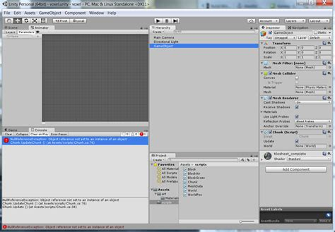 unity tutorial object unity voxel tutorial nullreferenceexception object