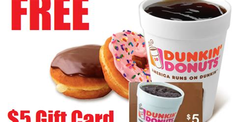 Dunkin Donuts Gift Card Number - coupons and freebies free 5 dunkin donuts gift card smartphone or tablet required