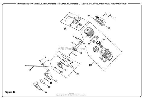 homelite 2 parts diagram homelite vac attack ii blower ut 08542 b parts diagram for