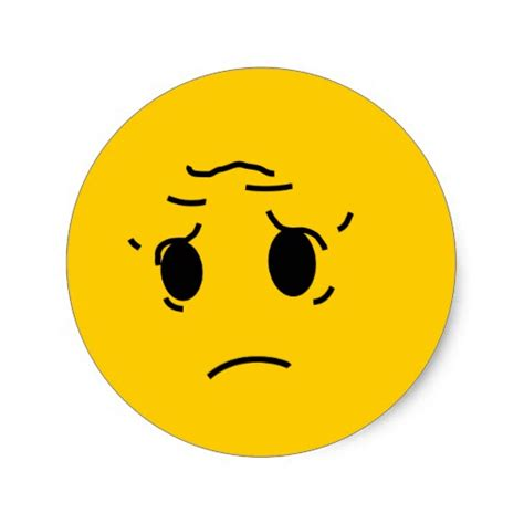 Sticker Smiley Traurig by Trauriger Smiley Runder Aufkleber Zazzle