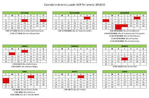 Calendario De La Escuela Calendario Festivo De La Escuela De Tenis Y P 193 Acr