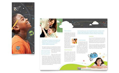 brochure templates education free education foundation school tri fold brochure template