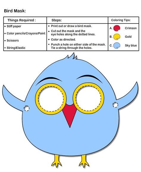 printable parrot mask how to make bird mask printable kids crafts arts