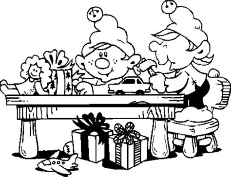 Elves Workshop Coloring Pages | santa workshop coloring pages