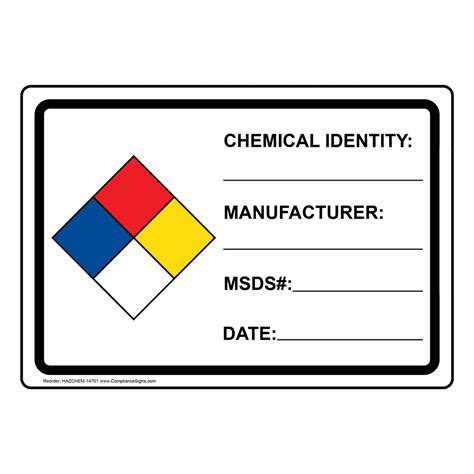 printable hazardous material label nfpa 704 chemical identity manufacturer msds date sign