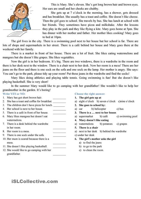 printable reading comprehension test 8 best english reading comprehension images on pinterest