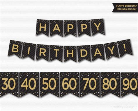 printable birthday supplies happy birthday banner printable 30th 40th 50th 60th