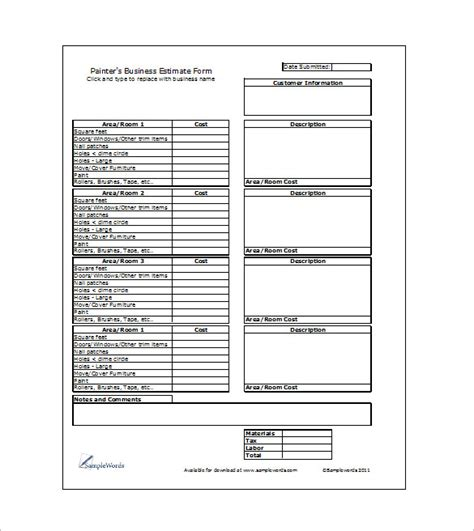 formal estimate template 6 work estimate templates free word excel formats
