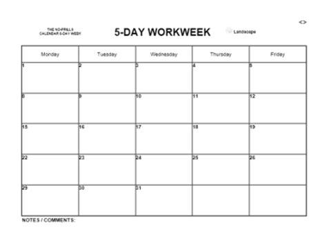 5 day week 2018 calendar by month : mon. thru fri