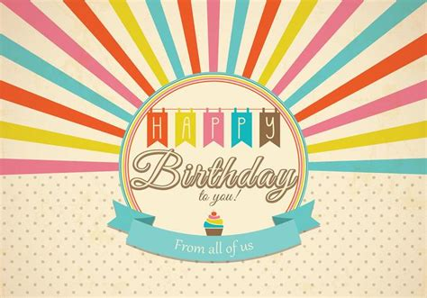 happy birthday vintage design retro happy birthday card vector download free vector