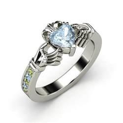 clatter ring aquamarine claddagh ring eleonor jewelry