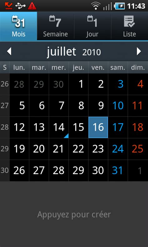 S Calendrier Android Test Du Samsung Galaxy S I9000 Sous Android Page 2 Sur