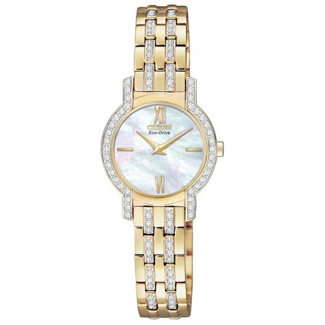 Citizen Eco Drive EX1242 56D Ladies Silhouette Gold I.P Crystal Watch EX1242 56D   Citizen from