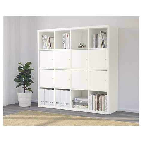 kallax shelving unit with 8 inserts white 147x147 cm ikea