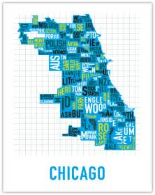 Chicago Map Poster by Neighborhoods In Chicago