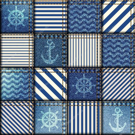 Denim Patchwork Fabric - patchwork of denim fabric stock vector 169 kastanka 69077693