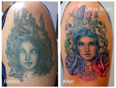 tattoo cover up portrait cover up by ettore bechis tattoos
